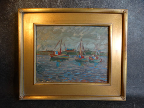 Anders Aldrin Boats in Morro Bay Oil on Board circa 1943 P2735