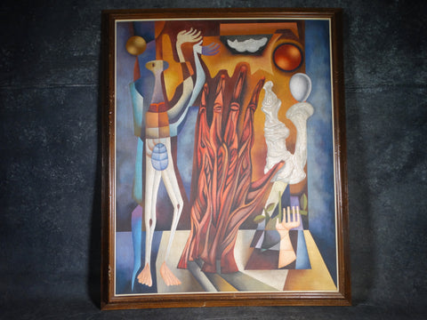 Jose Maria De Servin  - Surrealist Tableau - Oil on Canvas circa 1960s P2841