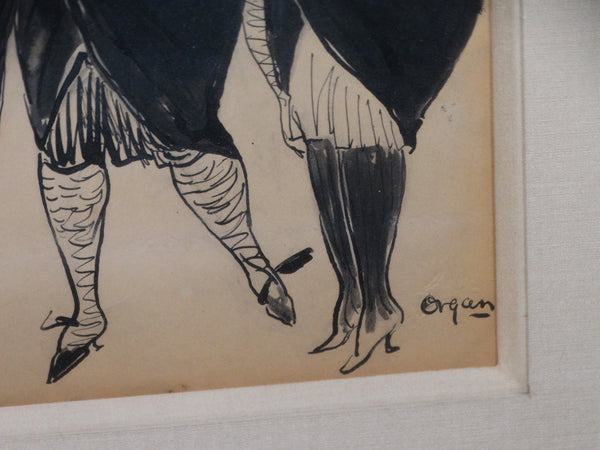 Flappers - Ink Illustration by Marjorie Organ Henri 1920s P2748