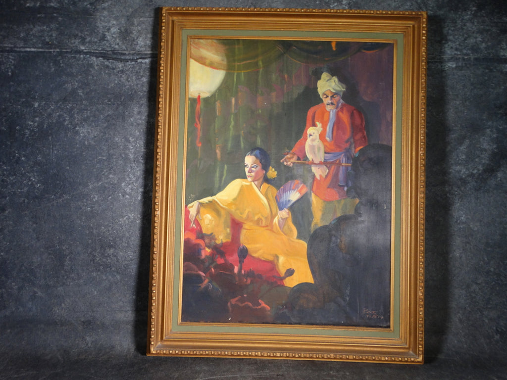 Pat Tison - Illustration Art: Dragon Lady In Her Lair - Oil on Canvas 1920s-30s P2842