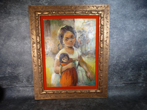 Grace Harvey - Mexican Girl With Doll - Oil on Canvas 1965 P2759