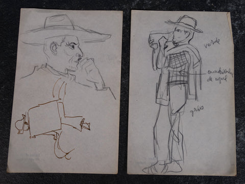 Alberto Beltrán - Pair of Drawings of a Man Drinking - P2794