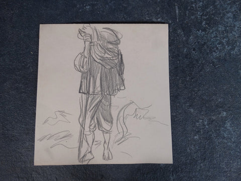 Alberto Beltrán - Man with a Staff - Traveler On Foot - Sheep Herder -DrawingP2798