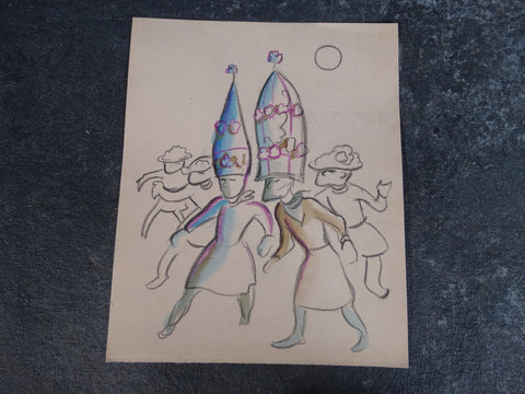 Alberto Beltrán - Dancers at the Vera Cruz Carnaval - Colored Pencil Drawing -P2799