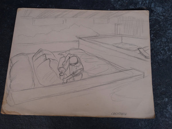 "Alberto Beltrán - Worker at a Tannery (""Curtideria"") - Drawing - P2806"