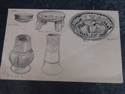 Alberto Beltrán - Drawing of  Ancient Mayan Pottery P2811