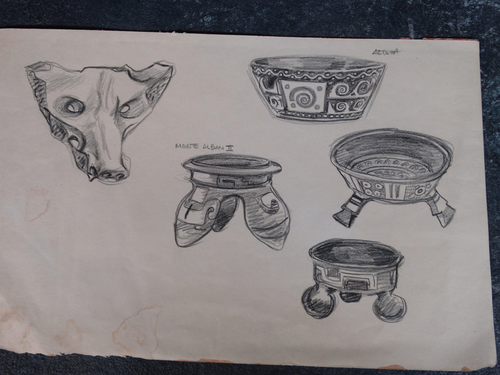 Alberto Beltrán - Drawing of Ancient Aztec Pottery - P2812