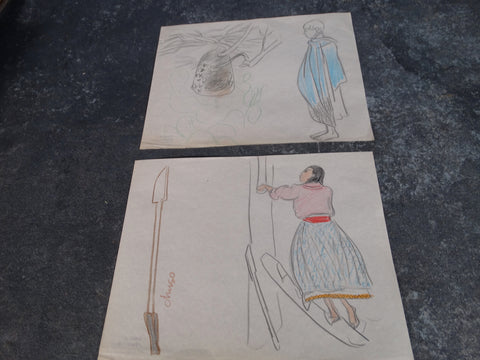 Alberto Beltrán  Pair of Drawings - Color Pencil - Studies for Illustrations - Market Figures  P2816