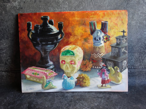 Alfonso Tirado Oil on Canvas Still Life with Sugar Skull P2827