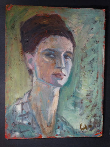 Marie Cofalka  Portait of a Woman, Hair Up, Blues, Greens c1950s P2853