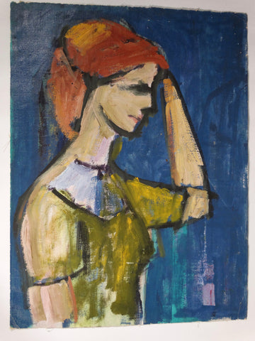 Marie Cofalka - Portrait of a Red Headed Woman in Profile - Oil on Board P2854