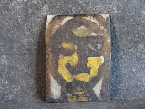 Marie Cofalka - Modernist Head - Oil on Wallpaper - circa 1965 P2863