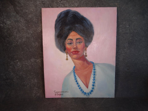 Alfonso Tirado Woman with Blue Beads and Big Hair circa 1960 P2868