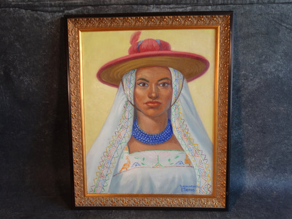 Alfonso Tirado - Mexican Woman in Traditional Costume - Oil on Canvas P2869