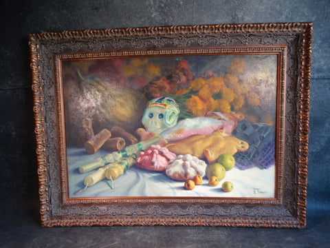 Alfonso Tirado Sugar Skull and Still Life with Candles, Fish and Fruit -Oil on Canvas - P2882