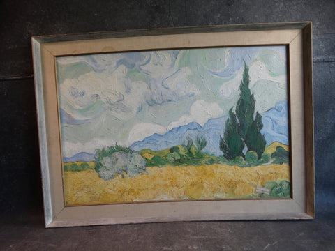 A. Paddia - Van Gogh's Wheatfield with Cypresses - Oil on Canvas Copy P2900