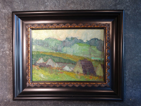 Marie Cofalka - Landscape, A Village - Oil on Canvas mounted on Board - P2905