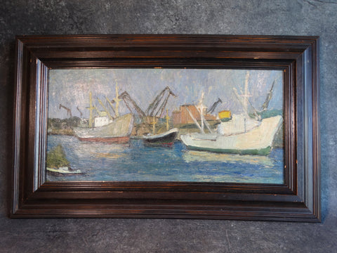 Marie Cofalka - Harbor Scene - Oil on Canvas mounted on Board - P2906