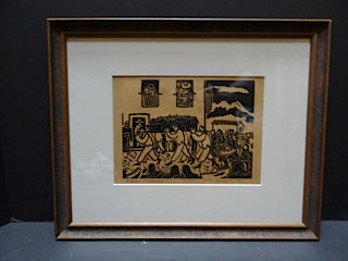 "W. H. Brown Block Print ""Indian Funeral"""