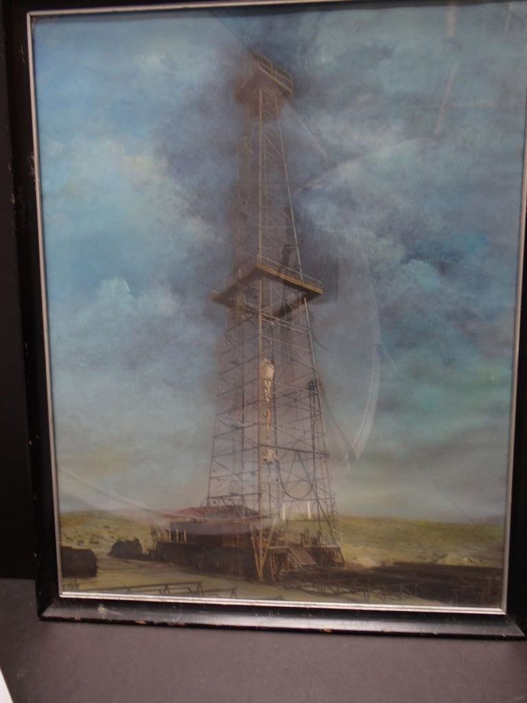 Tinted Photograph-Oil Derrick striking oil