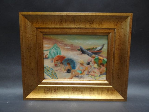 California Beach Scene Oil on Canvas Signed Lea