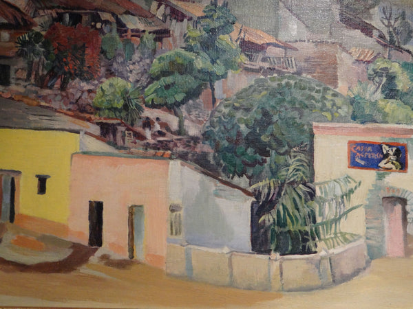 Mexican Village Hillside oil on board Circa 1937