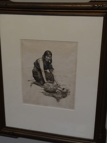 Charles Sindelaer Etching of a Hopi Woman