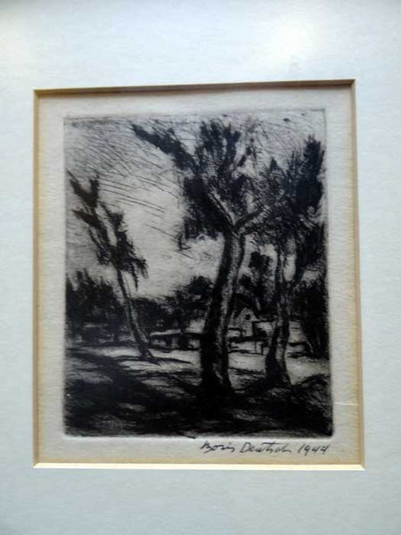 Boris Deutsch California Landscape Etching 1944