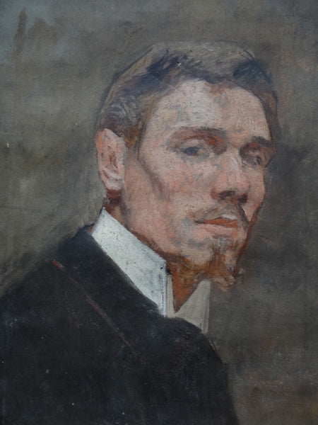 Portrait of a Man, oil sketch on canvas, attributed to Rupert Bunny c.1900 P463
