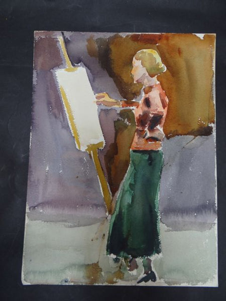 Joseph L Deitch Watercolor: Artist in Green Skirt Painting 1930s-40s