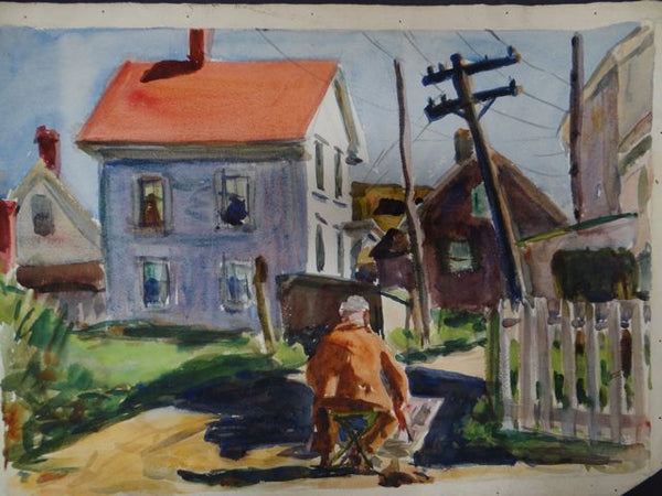 Joseph L Deitch Watercolor: Artist Painting View of Houses 1930s-40s
