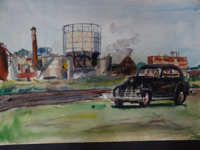 Joseph L Deitch Watercolor: Dark Sedan, Industrial Outskirts circa 1941