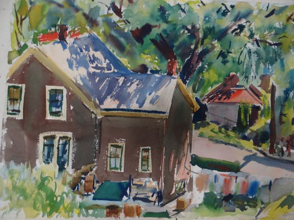 Joseph L Deitch Watercolor: Tree-shaded Houses 1930s-40s