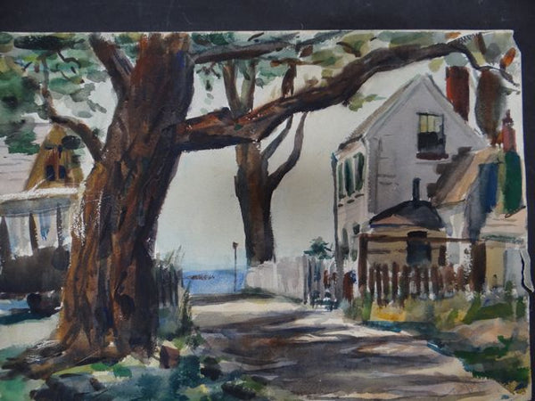 Joseph L Deitch Watercolor: Shaded Street, Sea View 1930s-40s
