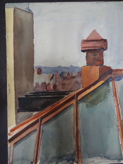 Joseph L Deitch Watercolor: Skylight 1930s-40s
