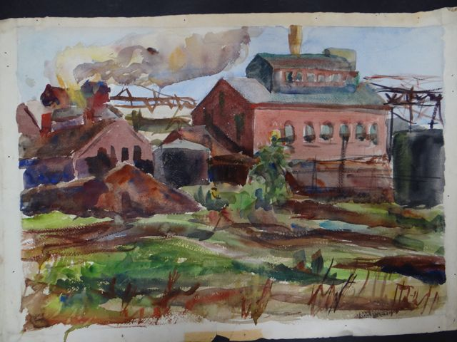 Joseph L Deitch Watercolor: Factory, Field 1930s-40s