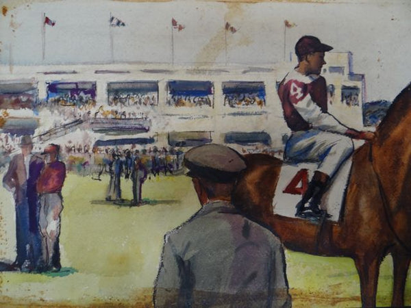 Joseph L Deitch Watercolor & Ink: Racetrack Scene 1930s-40s