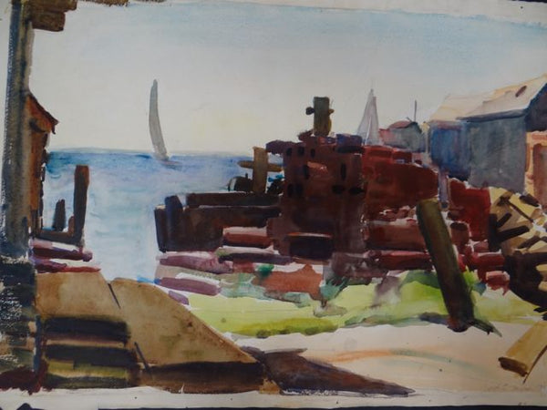 Joseph L Deitch Watercolor: Harbor Yard View 1930s-40s