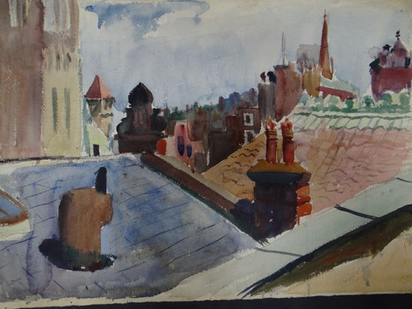 Joseph L Deitch Watercolor: Township Rooftops #1 1930s-40s