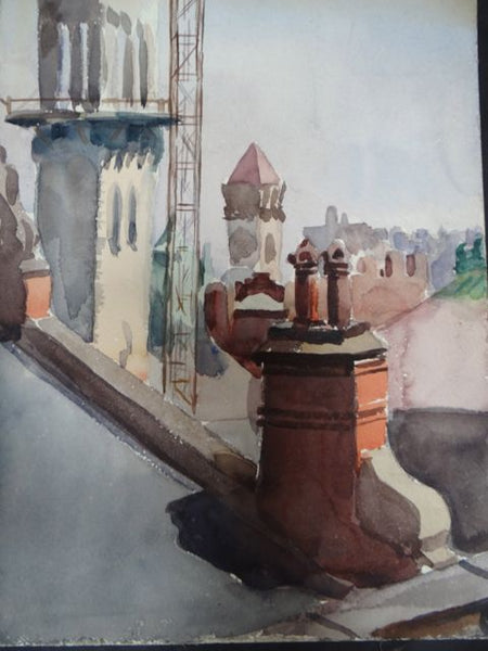 Joseph L Deitch Watercolor: Township Rooftops #2 1930s-40s