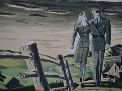 Joseph L Deitch WW II Illustration: Man and Woman in Uniform in Green Landscape