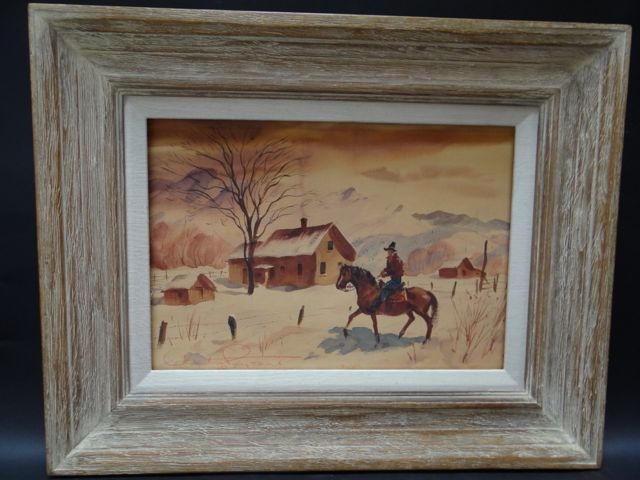 Charles Payzant Watercolor, Double-sided: Cowboy on Winter Ranch/ Market Scene