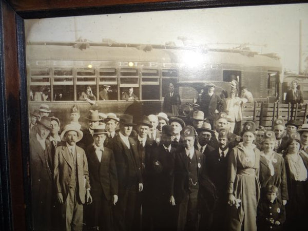 Panoramic Black & White Photograph: A Fraternal Order in front of a Pacific Electric Car