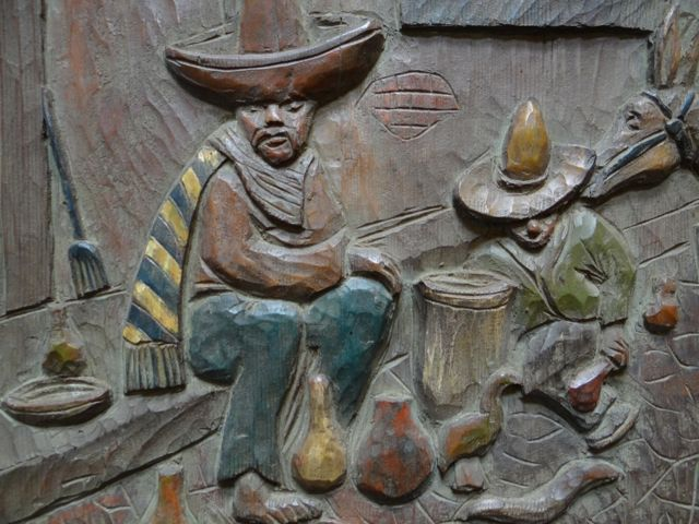 Carl Christian Abel Large Wood Carving Mexican Scene, Plaque 1930s