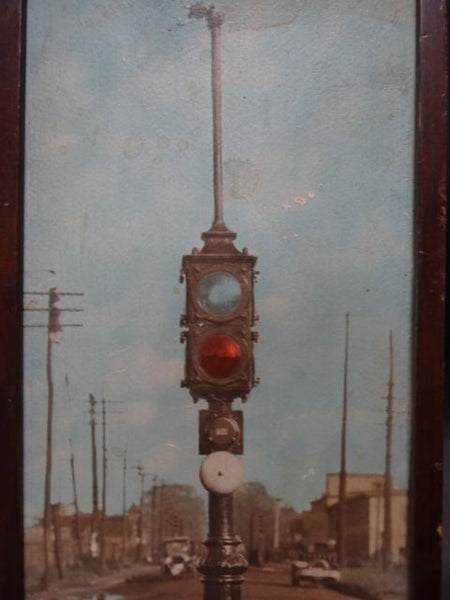 Hand-tinted Photograph of a Traffic Light 1914