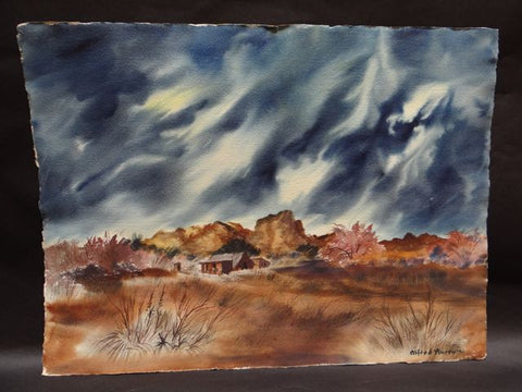Alfred C. Ybarra (1905 – 2001) Double-sided Watercolor dated 1951 Stormy Desert Skies: Two Views