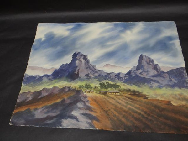 Alfred C. Ybarra (1905 – 2001) Double-sided Watercolor dated 1951 Stormy Desert Skies: Two Views P660