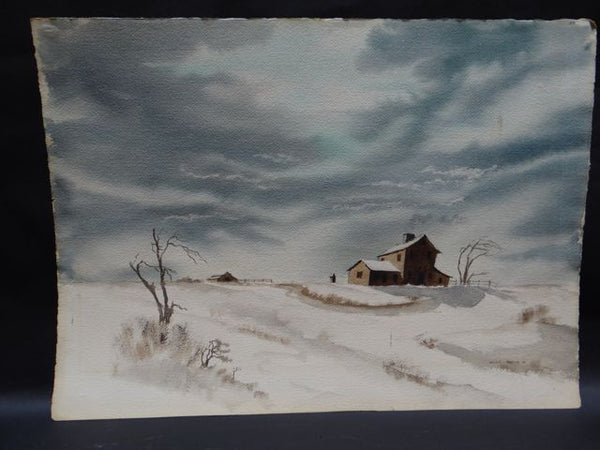 Alfred C. Ybarra (1905 – 2001) Watercolor dated 1938 Farmhouse in Snowy Fields