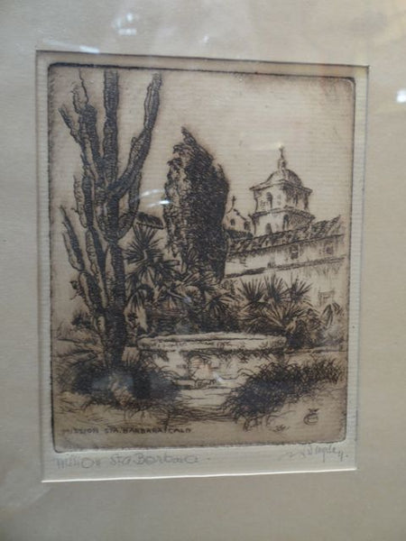 Carl Oscar Borg [1879-1947] Etching of the Santa Barbara Mission