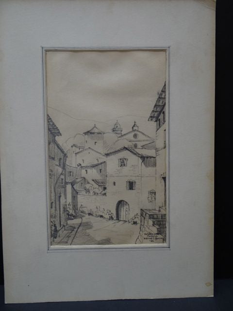Alfred C. Ybarra (1905 – 2001) Pencil Sketch of a Spanish Town